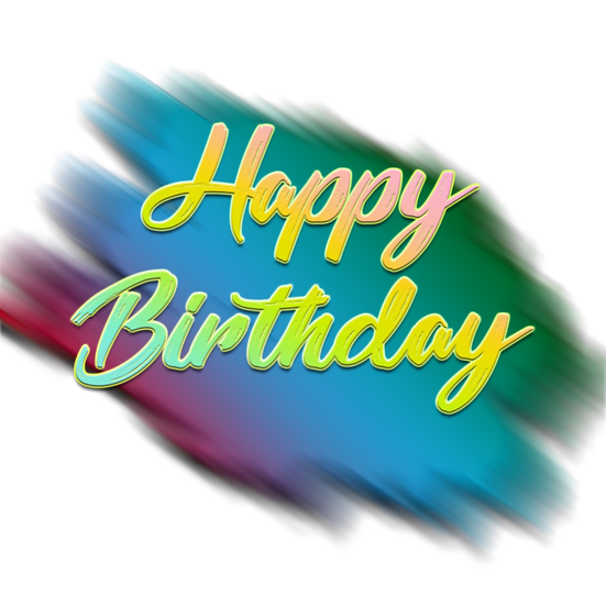 Happy Birthday Inscription with Brush Stroke - PNG Image - Digital Download