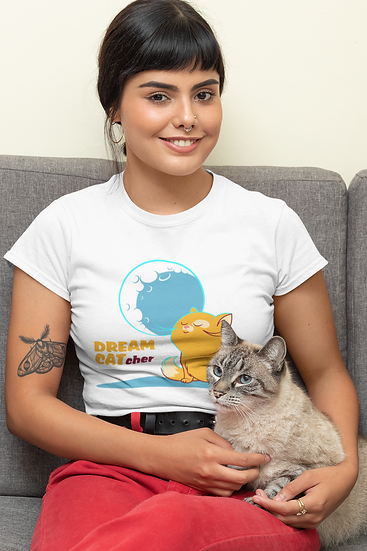 DREAM CATcher Graphic tshirts for Women - Cat Lover Short-Sleeve Women's Tees