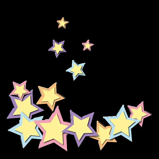 Colorful Stars Illustration - Free PNG Image, Transparent Image Instant Download