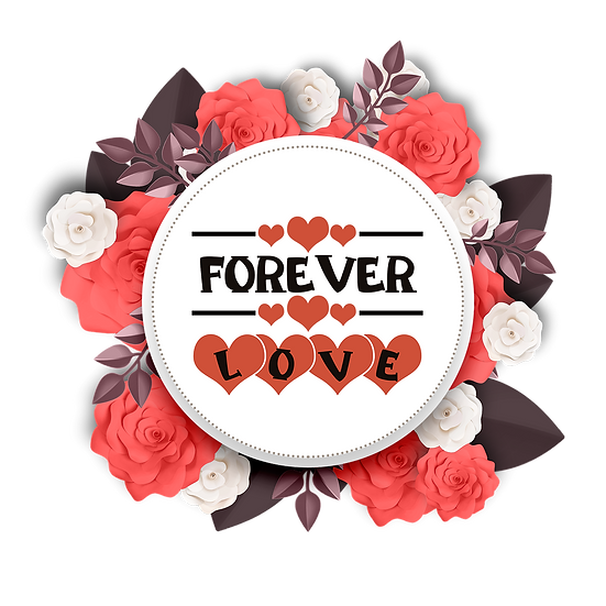 Forever Love Greeting Card - Valentine's Day Transparent Image, Instant Download