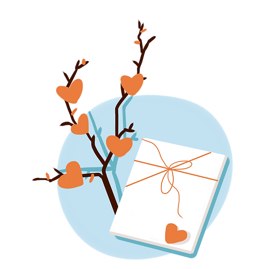 Love Letter and Branch with Hearts - Valentine's Day PNG Transparent Image