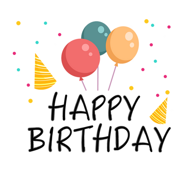 Festive Birthday Clipart with Balloons - Transparent Image - Digital Download