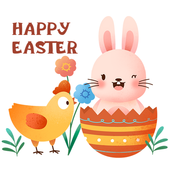 Chicken and Winking Bunny Clipart - Easter Transparent Image - Instant Download