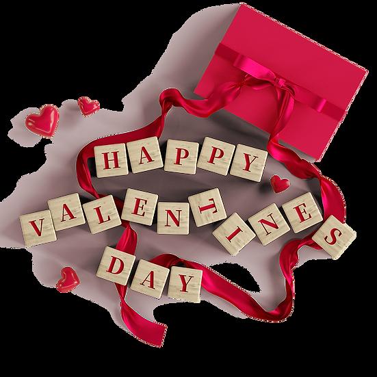 Happy Valentine's Day Wooden Blocks PNG Transparent Image - Instant Download