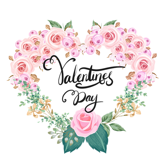 Valentine's Day Flowery Greeting Card - PNG Transparent Image - Instant Download