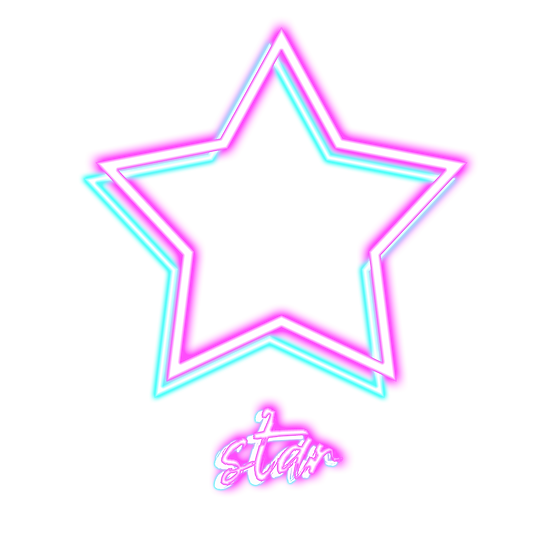 Neon Star with Inscription - Free PNG Images, Transparent Image Digital Download