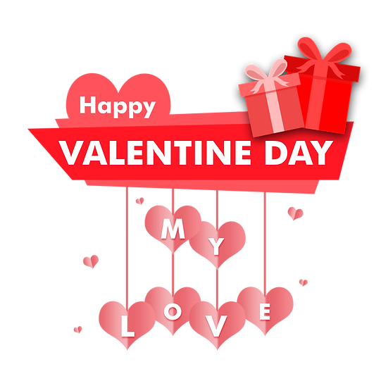 Happy Valentine Day My Love Greeting Card - Transparent Image - Instant Download