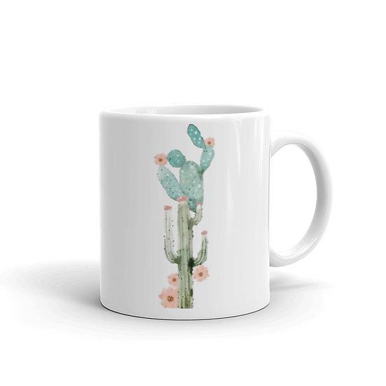 Watercolor Green & Blue Cactus Coffee Cup Mug for Coffee / Tea White Ceramic Mug1