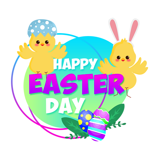 Charming Easter Greeting Card - PNG Transparent Image - Instant Download