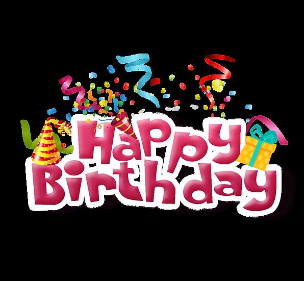 Happy Birthday Festive Inscription - PNG Transparent Image - Digital Download