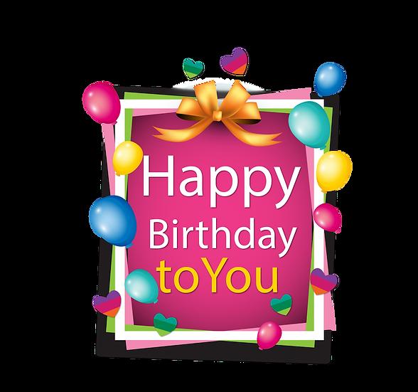 Happy Birthday Framed Inscription PNG Transparent Image - Digital Download