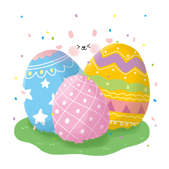 Charming Easter Clipart with Eggs and Bunny - PNG Image - Instant Download