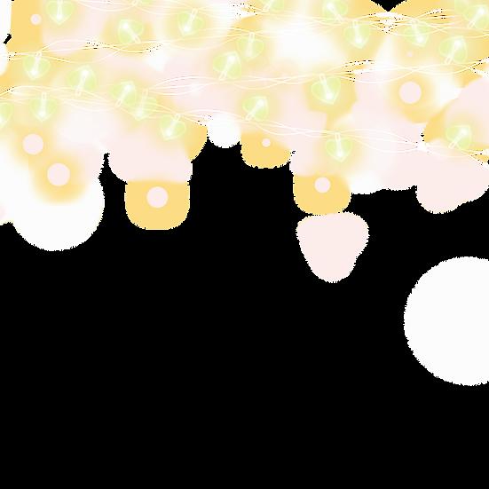 Hearts Strings Lights Frame - Valentine's Day PNG Image - Instant Download