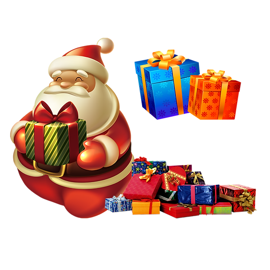 Santa with Christmas Presents Free PNG Images - Free Digital Image Download