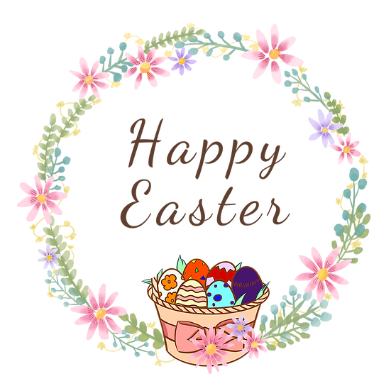 Floral Easter Wreath with Easter Basket - Transparent Image - Instant Download