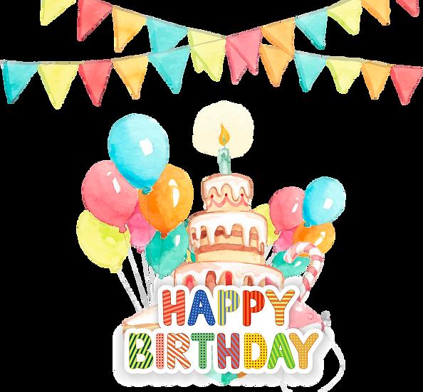 Watercolor Birthday Greeting Card - PNG Transparent Image - Digital Download