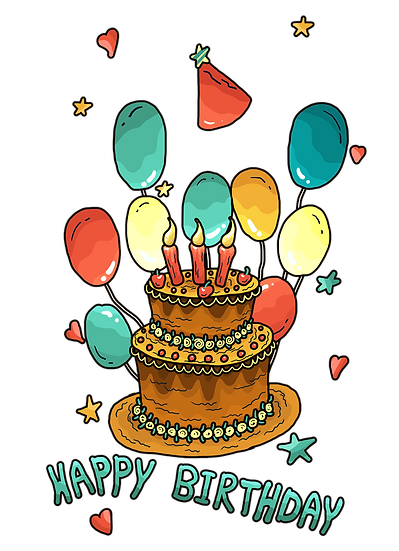 Birthday Clipart with Cake and Balloons - Transparent Image - Digital Download