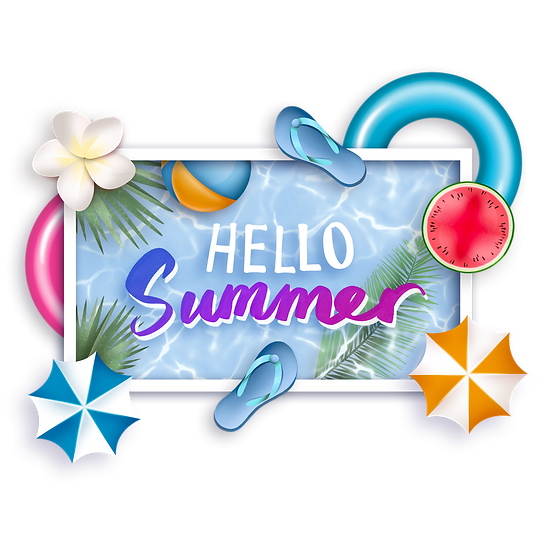 Bright Summer Greeting Card - Free PNG Image, Transparent Image Instant Download