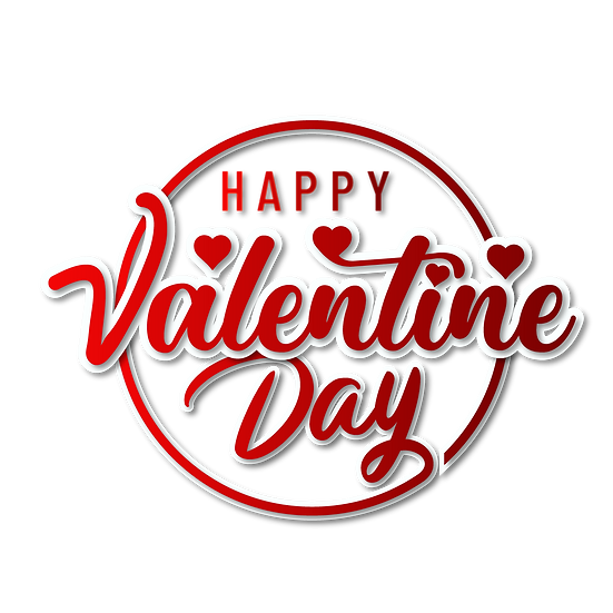 Happy Valentine Day Red Inscription PNG Transparent Image - Instant Download