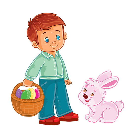 Boy with Basket of Eggs and Easter Bunny - Transparent Image - Instant Download