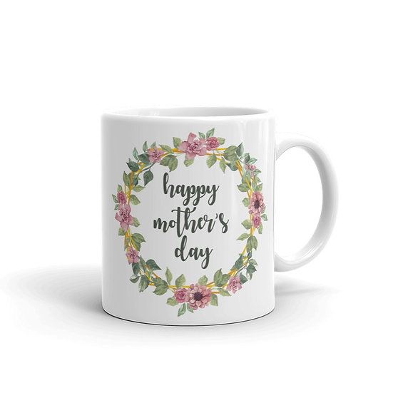Happy Mother's Day Botanical Wreath, Mother's Day Gifts, Mug for Mom