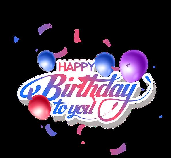 Happy Birthday Wonderful Clipart - Transparent Image - Digital Download