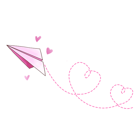 Paper Plane and Hearts - Free PNG Images, Transparent Image Instant Download