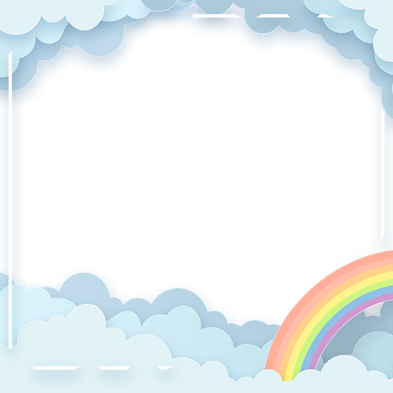 Clouds Border with Rainbow - Free PNG Images, Transparent Image Digital Download
