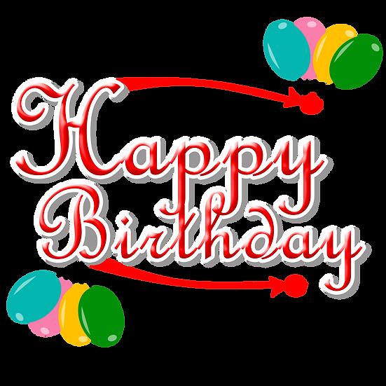 Red Birthday Inscription - PNG Transparent Image - Digital Download