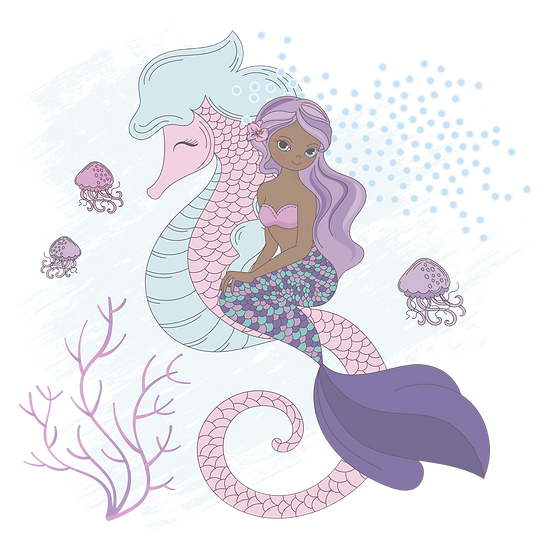 Mermaid and Seahorse - Free PNG Images, Transparent Image Instant Download
