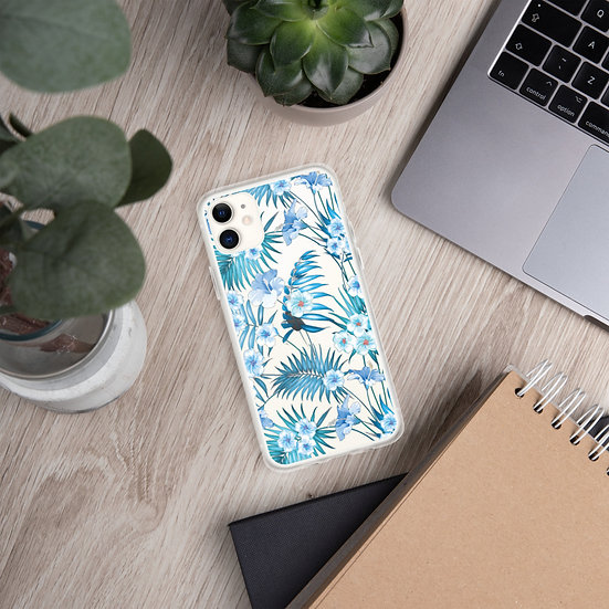 White & Blue Flowers iPhone Cases for all iPhone models