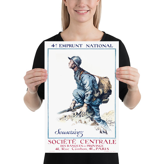 """WW1 French Great War Poster """"4e Emprunt National Souscrivez Société Centrale"""""""