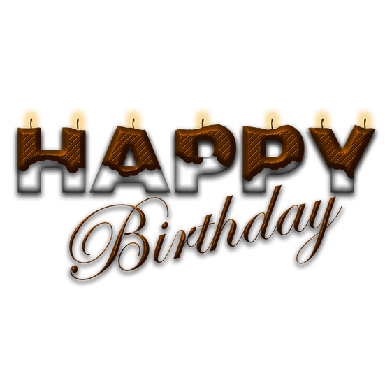 Happy Birthday Brown n White Inscription - Transparent Image - Digital Download