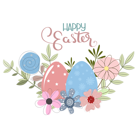 Easter Clipart with Eggs and Flowers - PNG Transparent Image - Instant Download