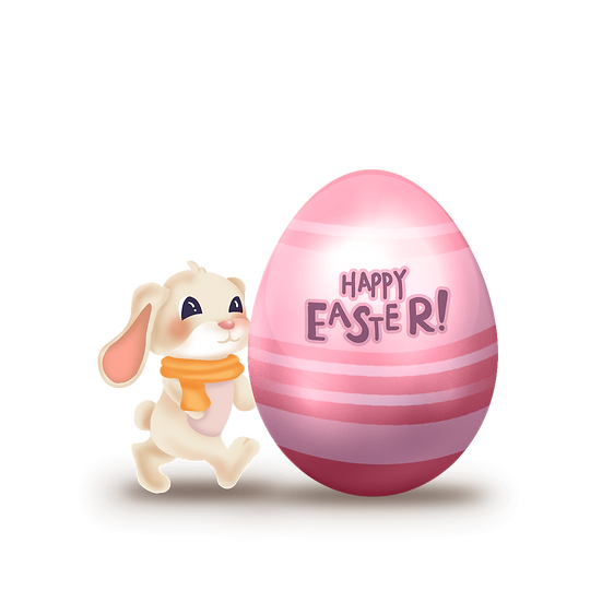 Cute Bunny with Pink Easter Egg - Easter Transparent Image - Instant Download