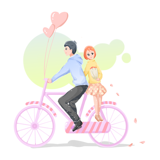 Couple Riding A Bike - Valentine's Day PNG Transparent Image - Instant Download