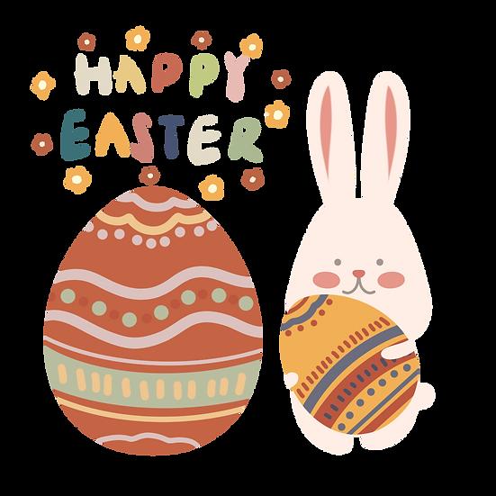 Bunny Holding Easter Egg Clipart - PNG Transparent Image - Instant Download