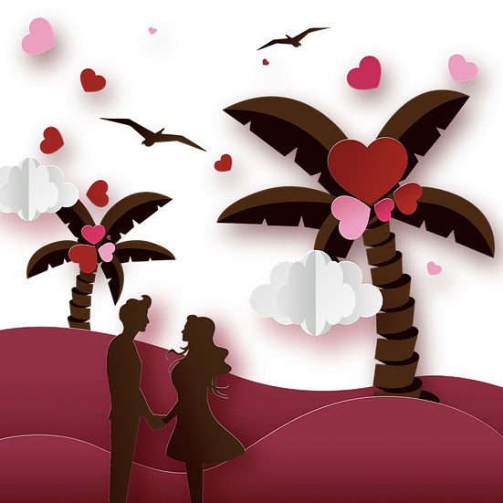Couple on the Island - Valentine's Day PNG Transparent Image - Instant Download