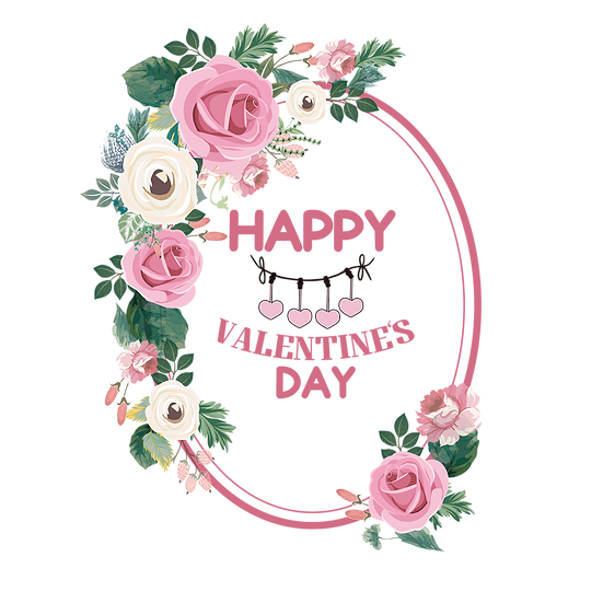 Happy Valentine's Day Oval Greeting Card PNG Transparent Image, Instant Download