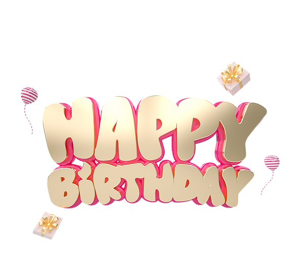 Happy Birthday Volumetric Inscription - PNG Transparent Image - Digital Download