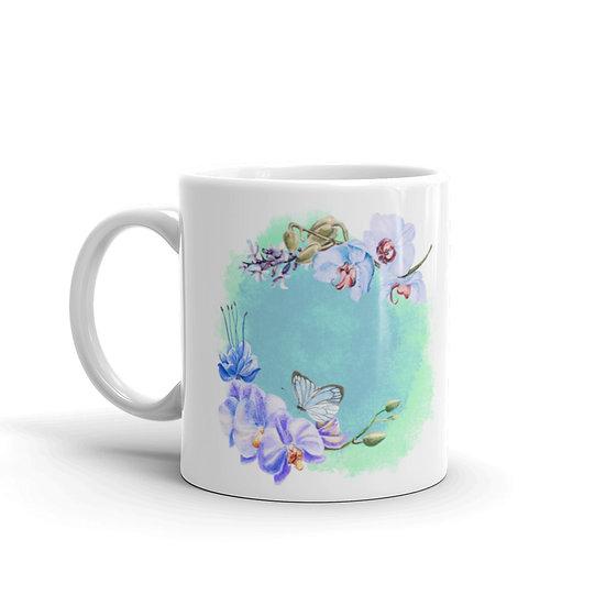 Flower Wreath Coffee Cup Mug for Coffee / Tea White Ceramic Mugs1