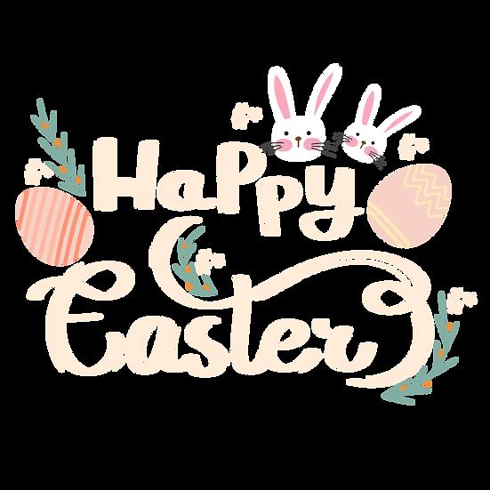 Happy Easter Handwritten Inscription - PNG Transparent Image - Instant Download