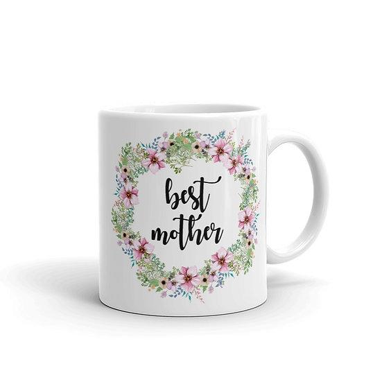 Best Mother Flower Wreath - Gift Ideas for Mom, Mug for Coffee / Tea