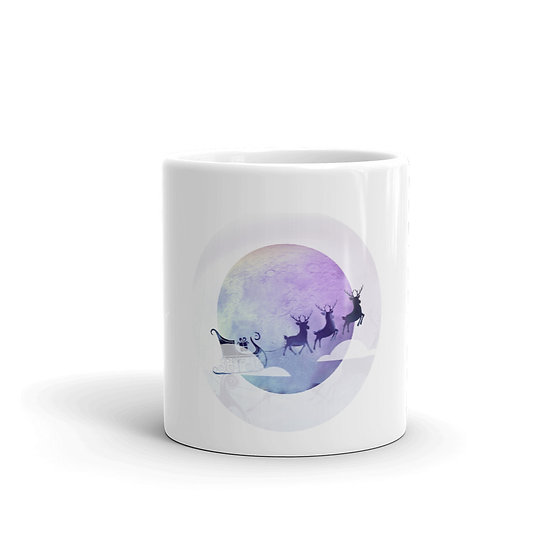 Santa Coming to Town Mug for Coffee / Tea, White Ceramic