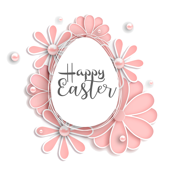 Happy Easter Egg with Pink Flowers - PNG Transparent Image - Instant Download