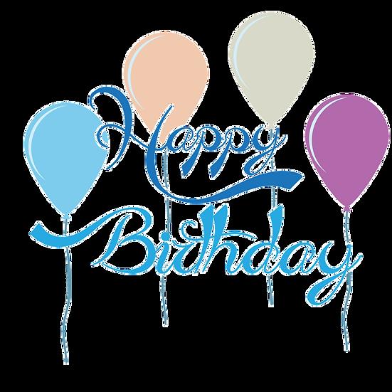 Happy Birthday Blue Inscription PNG Transparent Image - Digital Instant Download