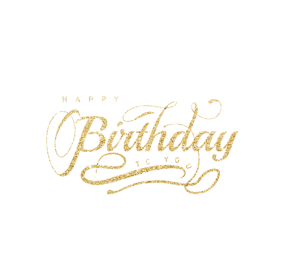 Happy Birthday to You Glitter Inscription - Transparent Image - Digital Download