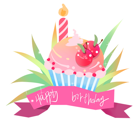 Sweet Birthday Cupcake Clipart - PNG Transparent Image - Digital Download