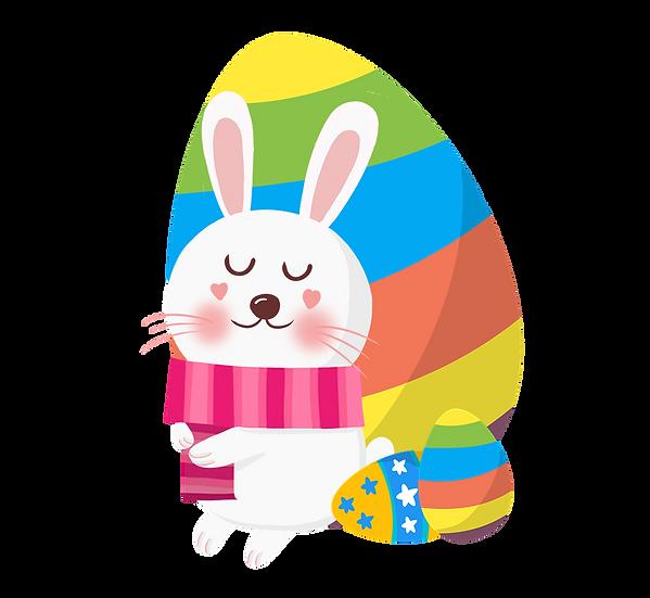 Lovely Bunny and Easter Egg - Easter PNG Transparent Image - Instant Download