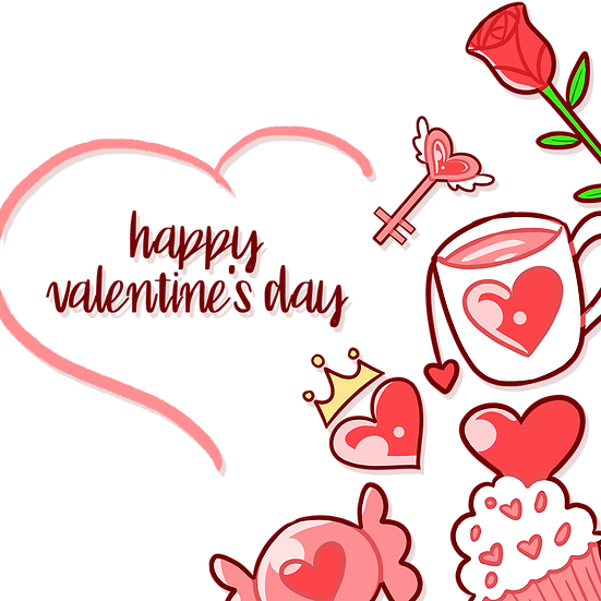 Cute Greeting Card Happy Valentine's Day PNG Transparent Image, Instant Download